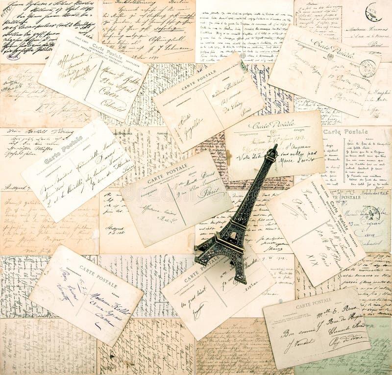 老法国明信片和纪念品艾菲尔铁塔 库存图片