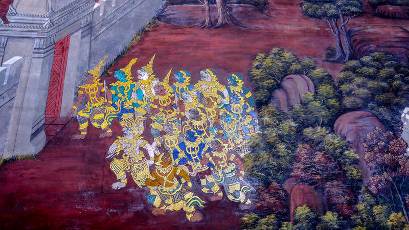 老泰国样式绘画艺术& x28; 1931& x29;在著名曼谷玉佛寺寺庙墙壁上的Ramayana故事在曼谷,泰国 免版税库存照片