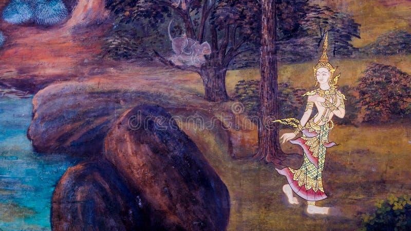 老泰国样式绘画艺术& x28; 1931& x29;在著名曼谷玉佛寺寺庙墙壁上的Ramayana故事在曼谷,泰国 库存照片