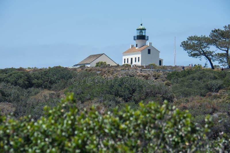 老洛马角灯塔,Cabrillo国家历史文物位于圣迭戈,加利福尼亚 库存图片