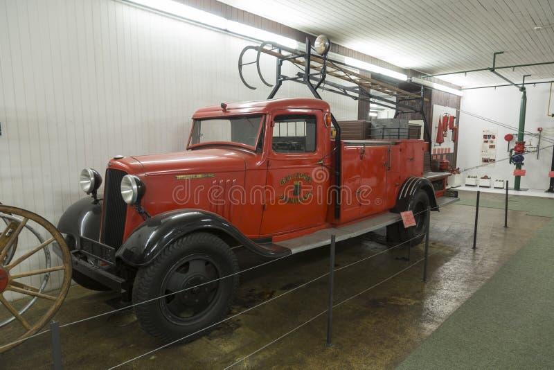 老消防队薛佛列卡车在尼古拉・特斯拉技术博物馆在萨格勒布,克罗地亚 免版税图库摄影