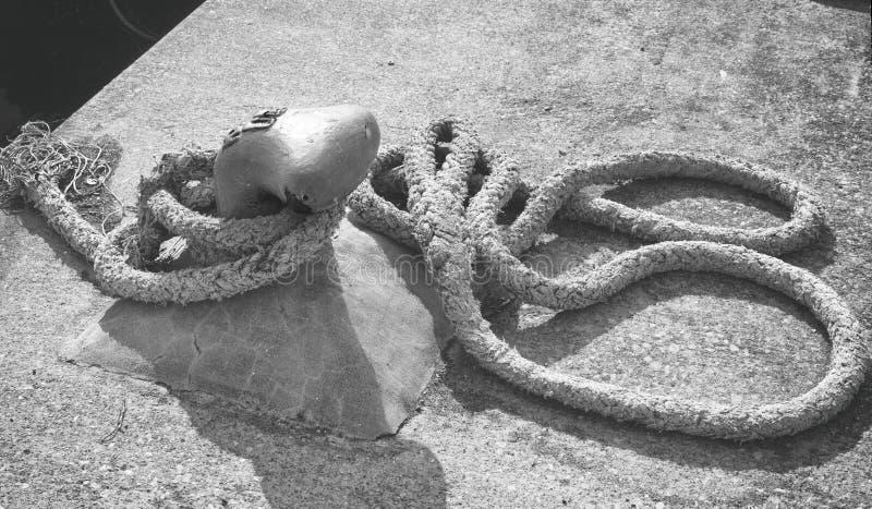 老渔船系泊缆 免版税库存图片