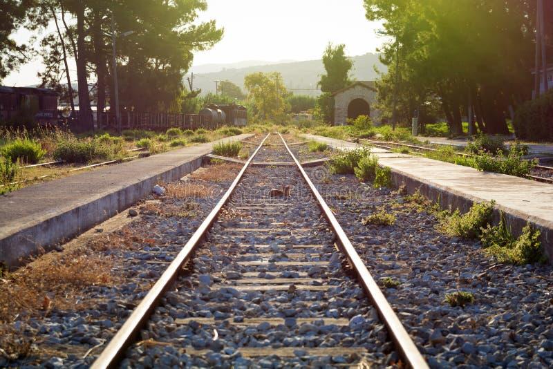 老火车站在希腊 免版税库存图片