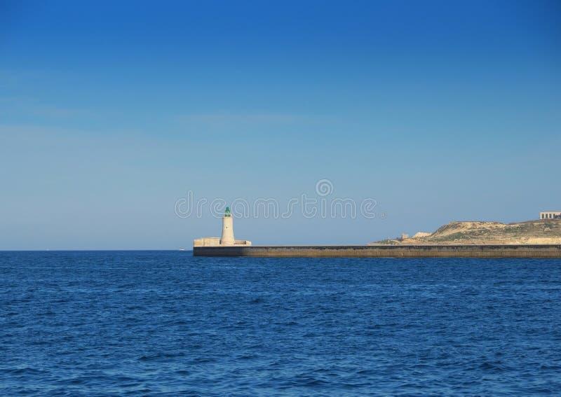 老灯塔在瓦莱塔,马耳他 图库摄影