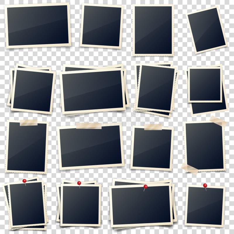 老照片卡片,被雕刻的边,框架,影片 减速火箭,与阴影的葡萄酒照片 数字快照,图象 摄影艺术 皇族释放例证