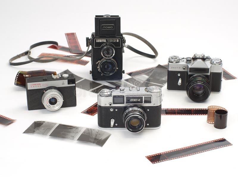 老照相机和胶片 库存照片