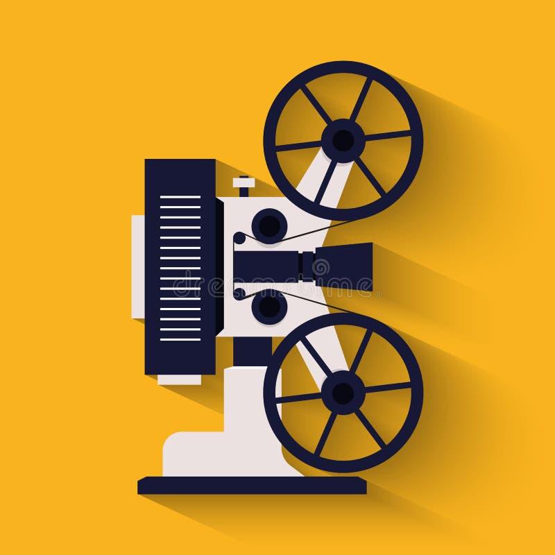 老牌电影摄影机平的象 减速火箭戏院的放映机 皇族释放例证