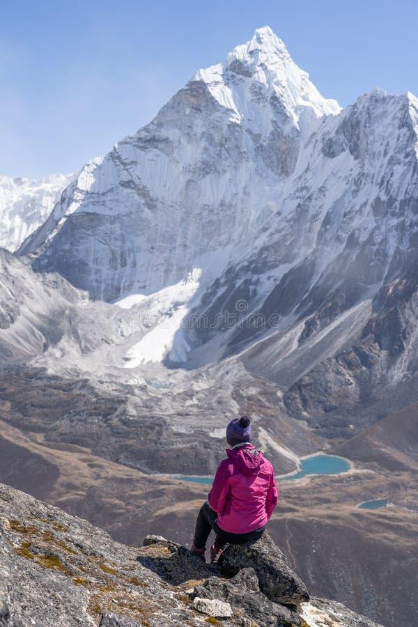 老牛享受阿玛达布拉姆峰山看法在Nangkart小腿观点,喜马拉雅山山,尼泊尔顶部 免版税库存图片