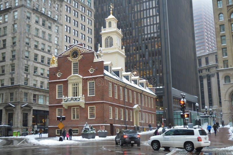 老状态议院在波士顿, 2016年12月11日的美国 图库摄影