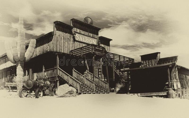 老狂放的西部牛仔镇 库存照片
