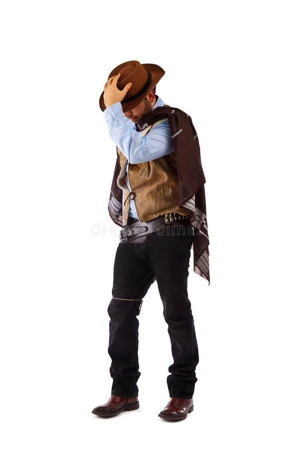 老狂放的西部的枪手在白色背景 库存图片
