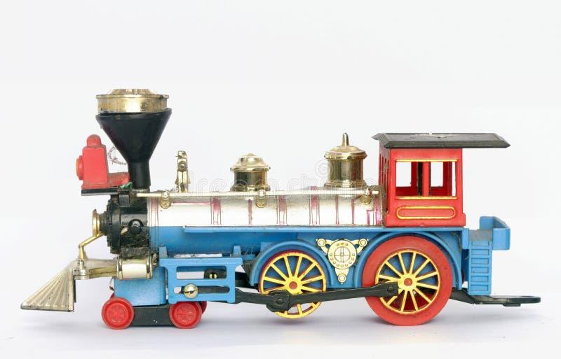 老玩具蒸汽火车隔绝了 库存照片
