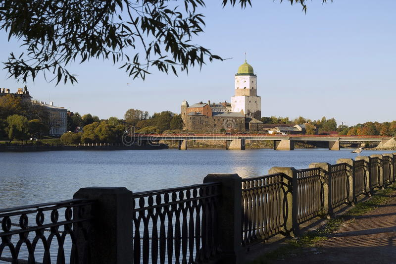 老瑞典城堡在维堡,俄罗斯2015年 图库摄影