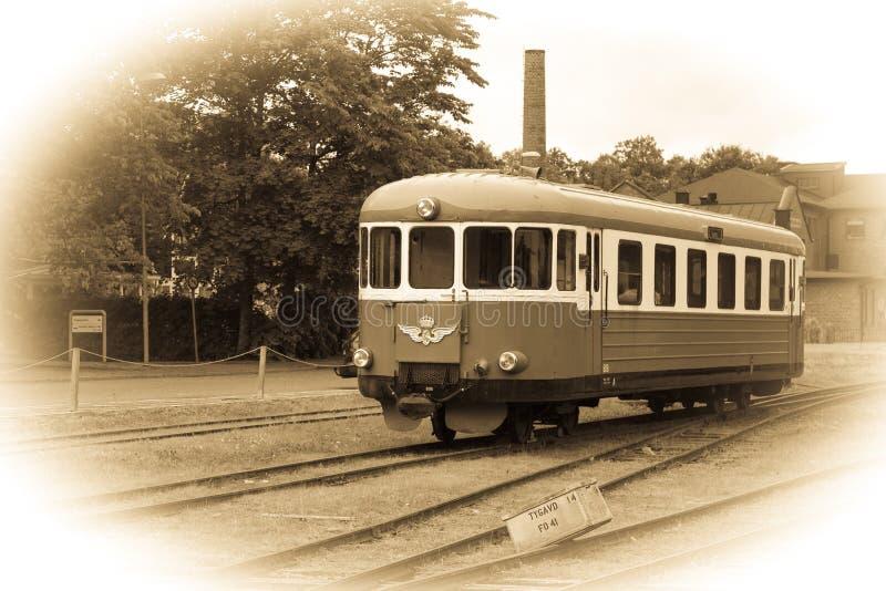 老瑞典机车。Vadstena。瑞典 免版税库存图片