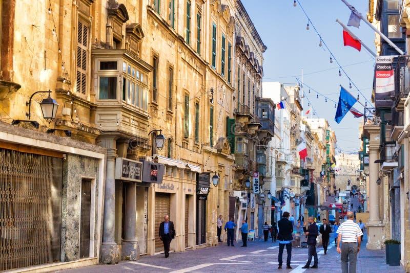 老瓦莱塔的中心在马耳他 免版税库存照片