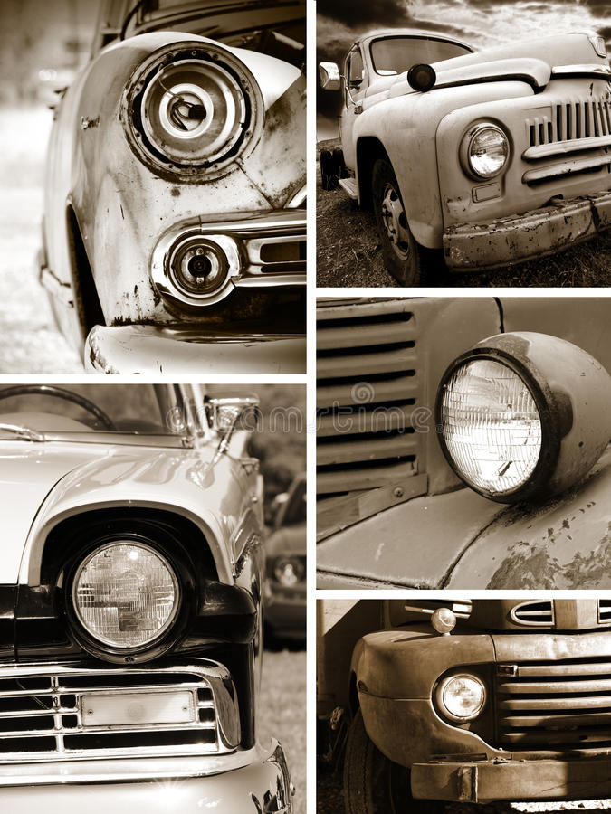 老生锈的汽车顶头灯 免版税库存照片