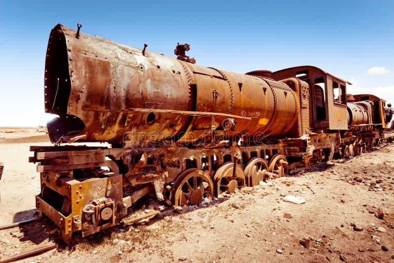 老生锈的蒸汽培训 库存照片