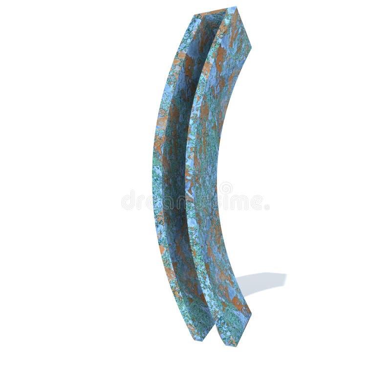 老生锈的金属字体、铁或者钢铁工业片断 皇族释放例证