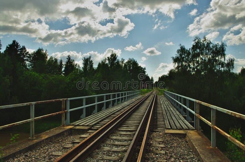 老生锈的铁路桥梁 免版税库存图片