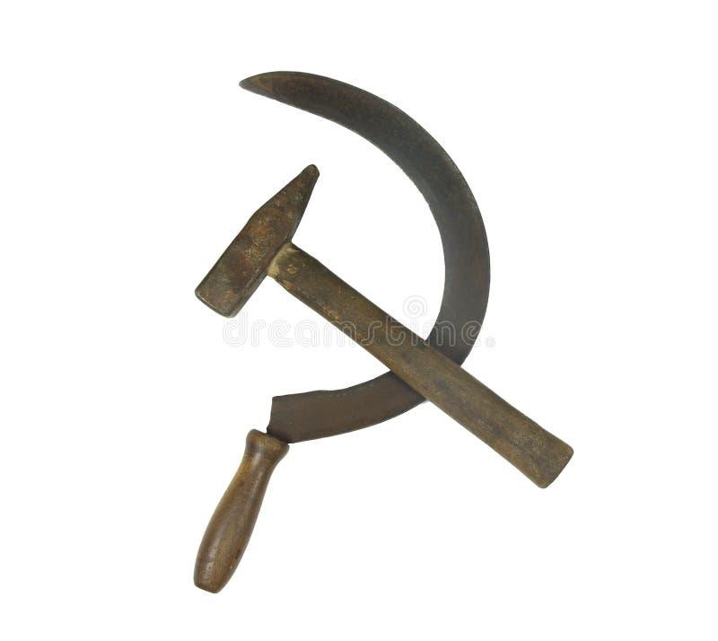 老生锈的镰刀和锤子 免版税库存照片