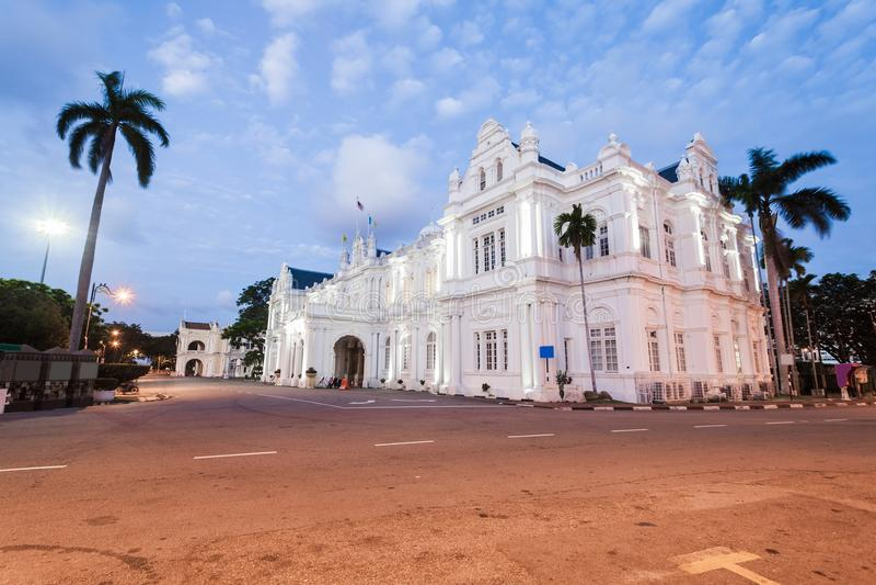 老用于当前槟榔岛地方委员会的遗产英国大厦,乔治市,槟榔岛 图库摄影