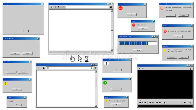 老用户界面窗口 皇族释放例证