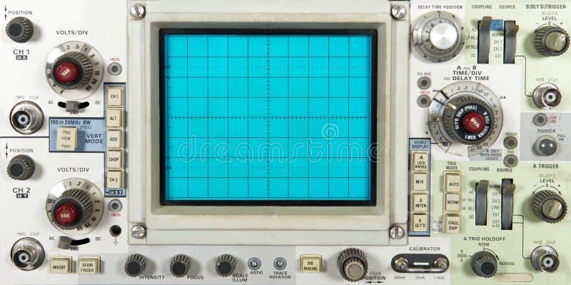 老电子示波器花盘,技术 免版税库存图片
