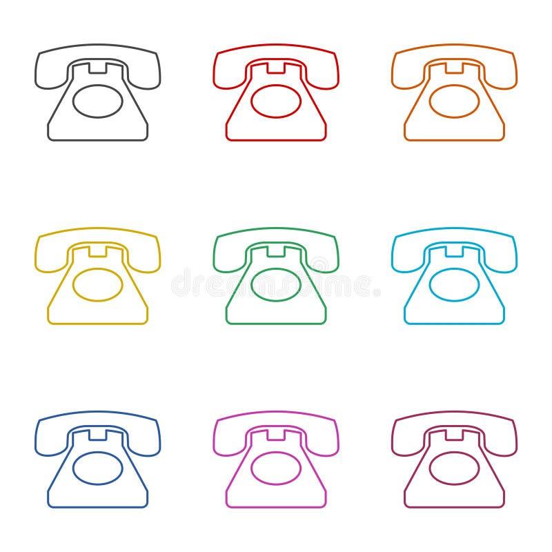 老电话象,电话传染媒介象,老葡萄酒电话标志,被设置的颜色象 向量例证