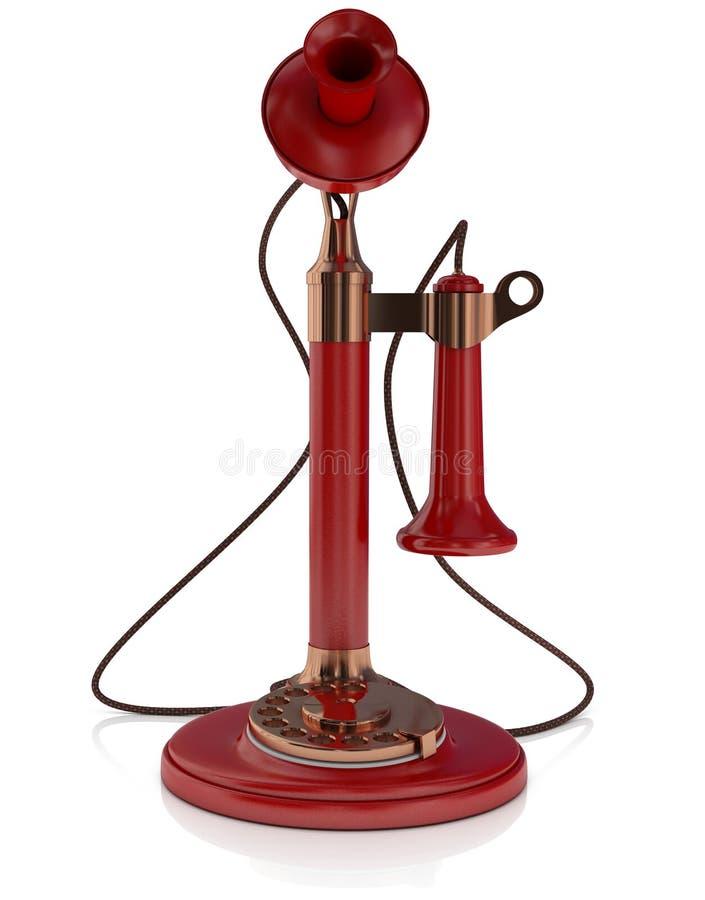 老电话,古色古香的烛台电话红色隔绝在白色背景, 3D中例证 库存例证