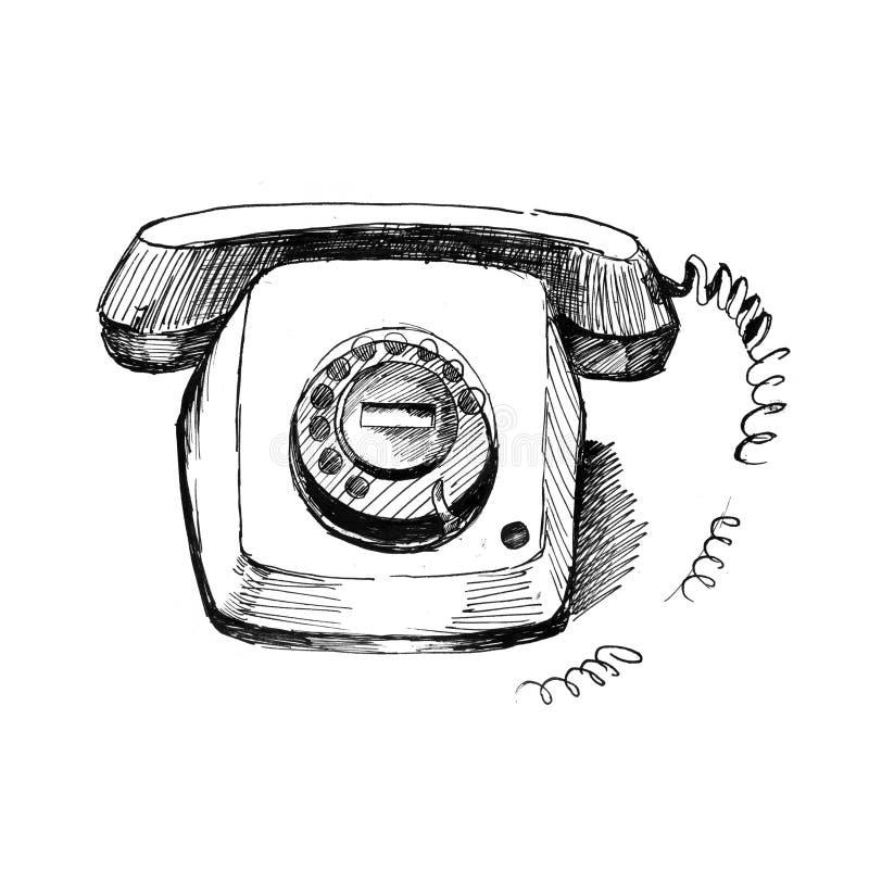 老电话 葡萄酒手拉的样式,钢笔画 减速火箭的被手工造的电话设计元素 库存例证