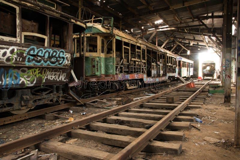 老电车轨道 库存照片