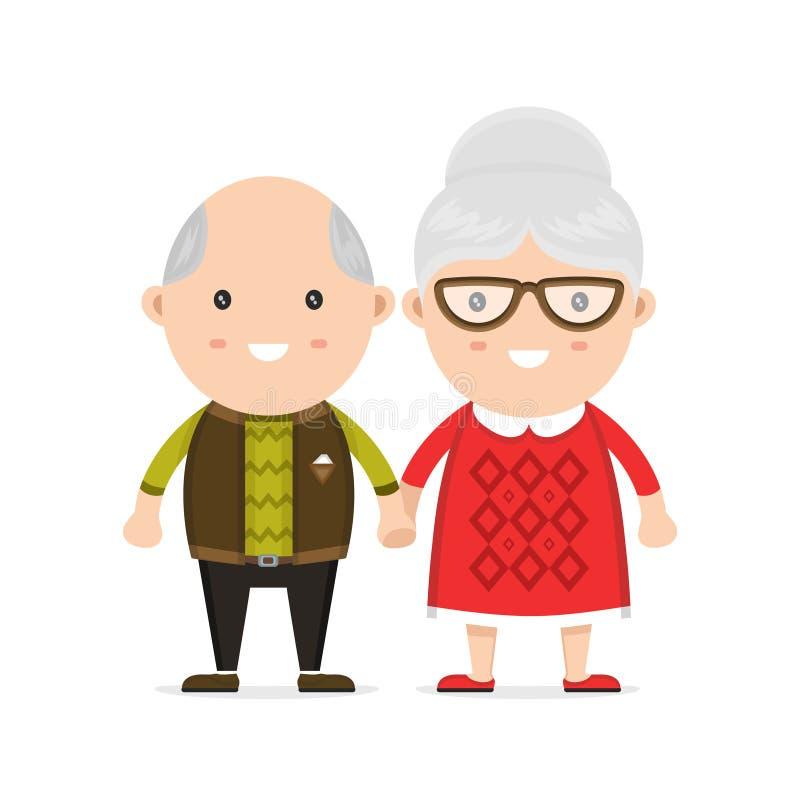 老男人和妇女、祖母和祖父 库存例证