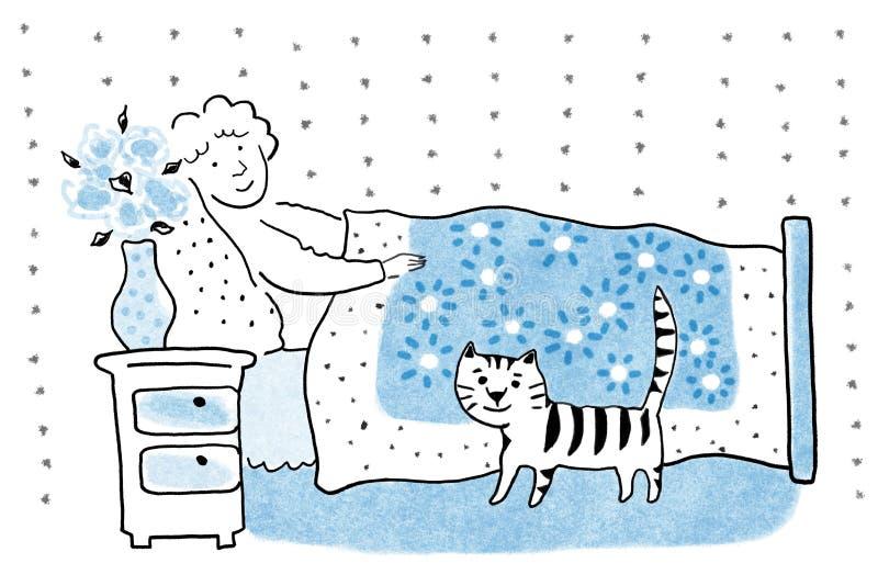 老病的妇女在床,健康概念,晚年概念,水彩手工制造工作,放松概念绘画例证上  向量例证