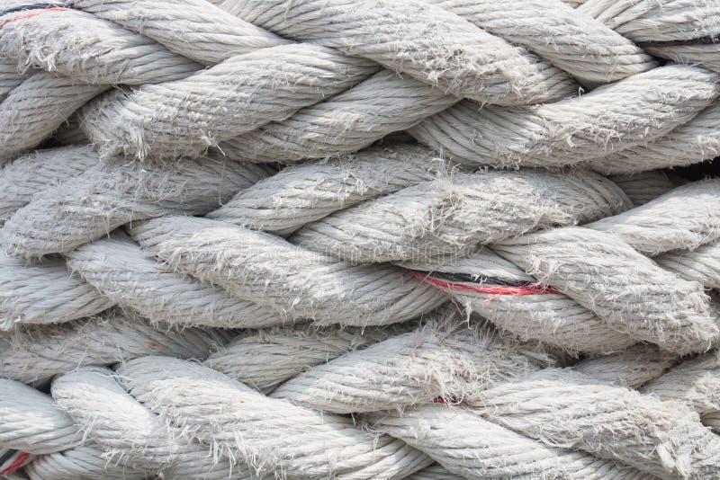 老白色巨型纤维绳索背景的关闭 免版税库存图片