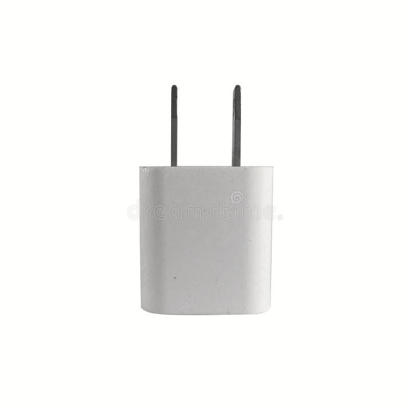 老白色流动适配器充电器和USB端口在白色背景塞住 库存图片