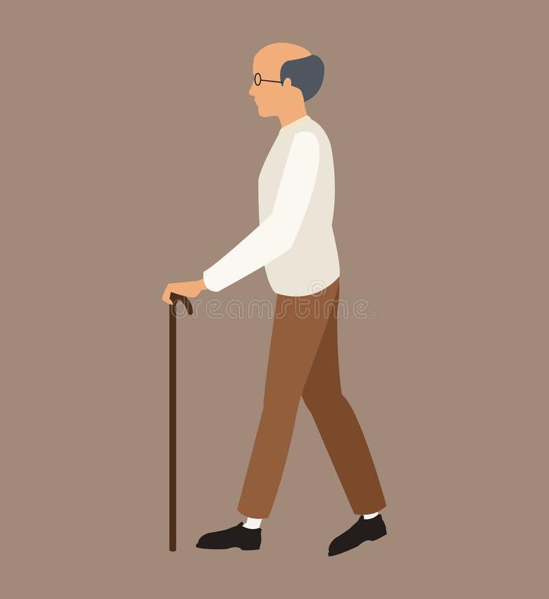 更老的人白色衬衣拐棍 皇族释放例证