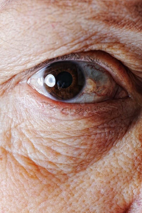 老皮肤,眼睛,特写镜头 库存照片