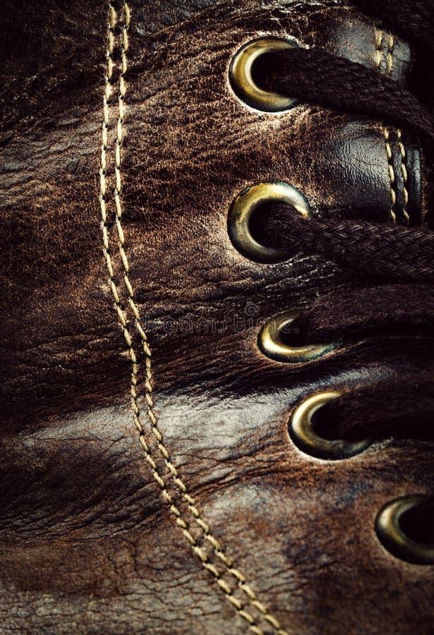 老皮鞋细节  免版税库存照片