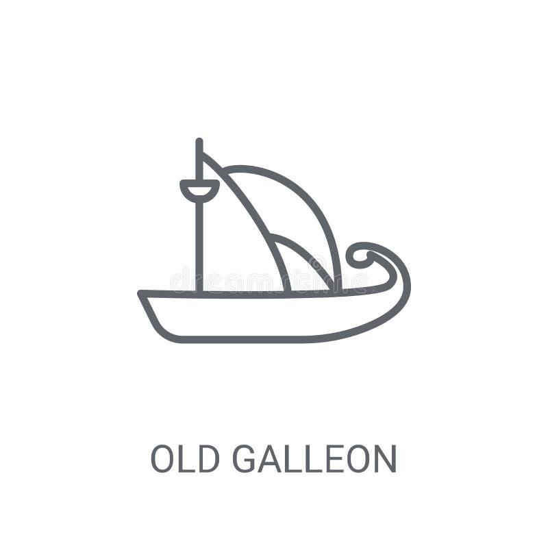 老盖伦帆船象 在白色backg的时髦老盖伦帆船商标概念 库存例证