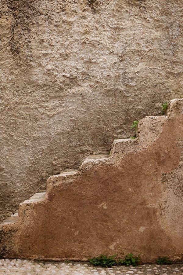 老石台阶侧视图  免版税库存照片