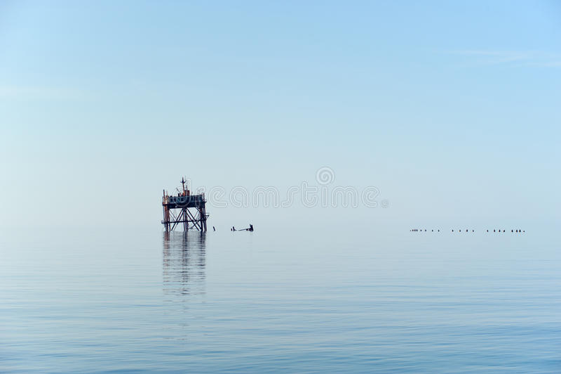 老石油平台 库存图片