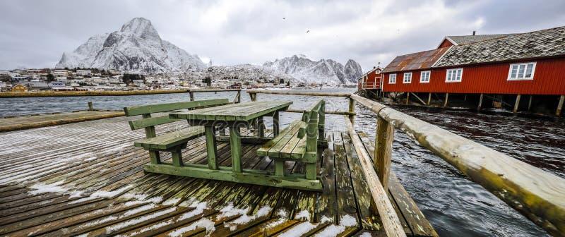 老码头在Lofoten海岛的传统渔解决 美丽的域前景横向挪威草莓 全景照片 图库摄影