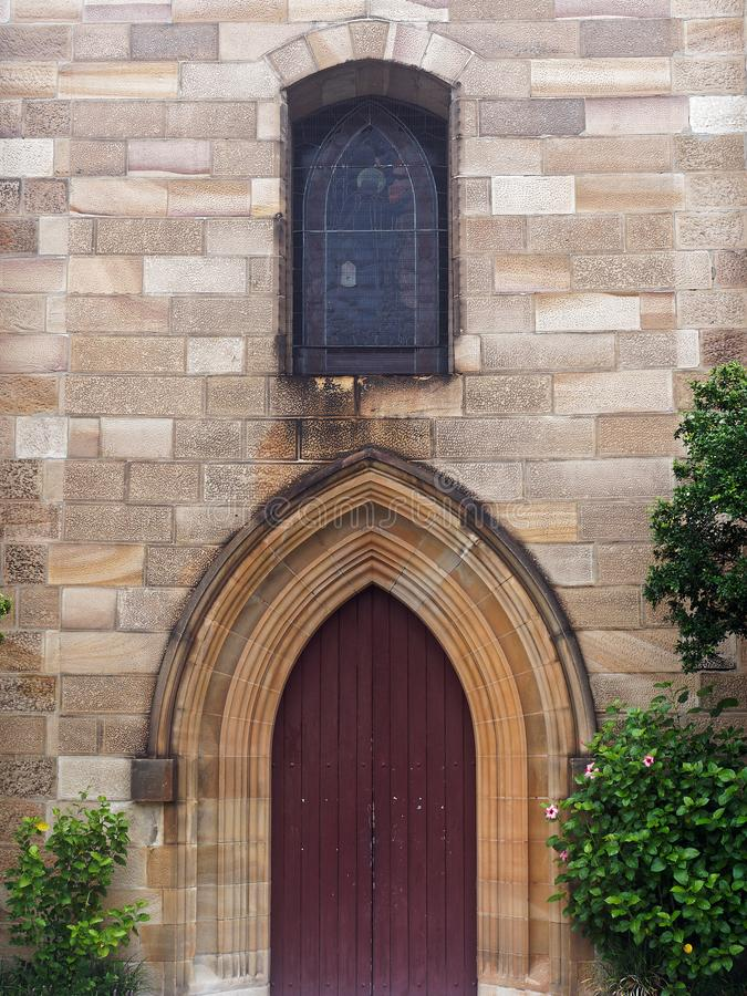 老砂岩教会,悉尼,澳大利亚的插页木门 库存照片