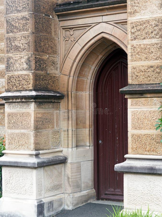 老砂岩教会,悉尼,澳大利亚的插页木门 免版税库存图片