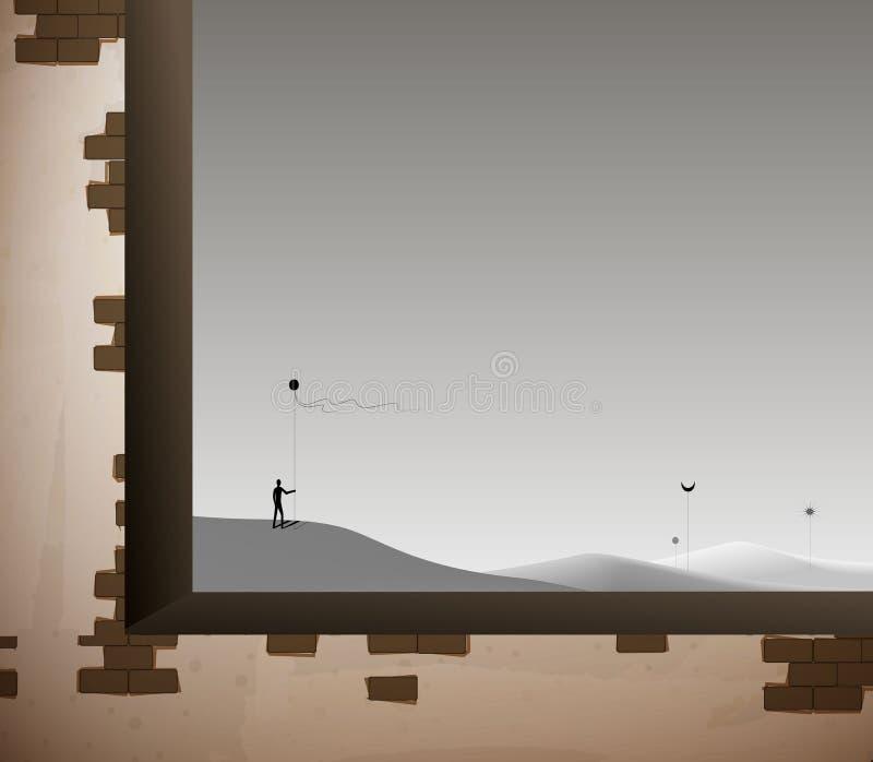 老砖墙窗口和空的沙漠风景wirh人、理想与现实概念,在梦想幻想里面, 库存例证
