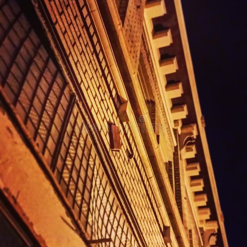 老砖瓦房在1915年架设的,在Pocatello,爱达荷 图库摄影