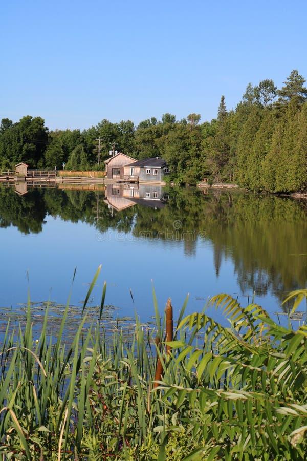 老磨房和Treeline的清楚的反射在水坝上 库存照片