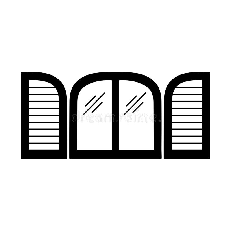 老窗口快门的黑&白色例证 木葡萄酒曲拱百叶窗传染媒介平的象  查出的对象 皇族释放例证