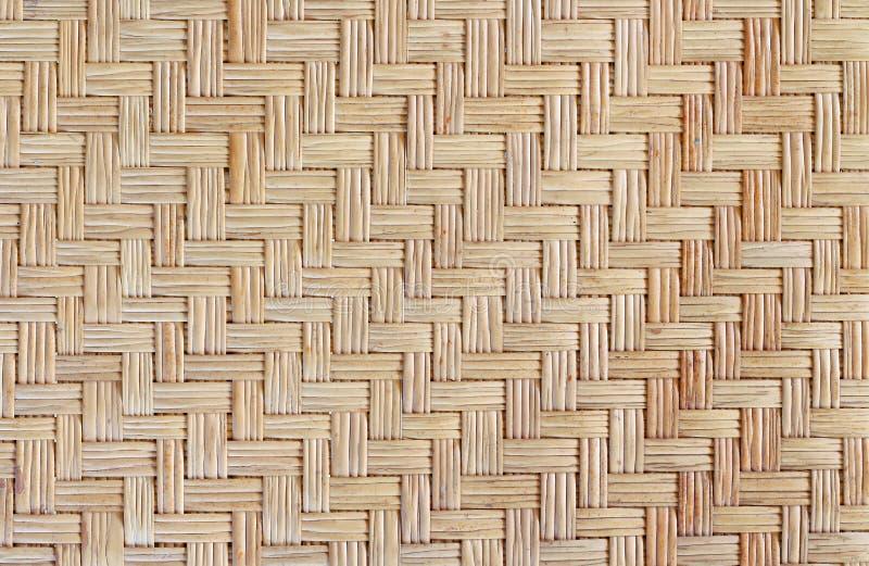老竹编织的样式,背景的被编织的藤条席子纹理 免版税库存照片