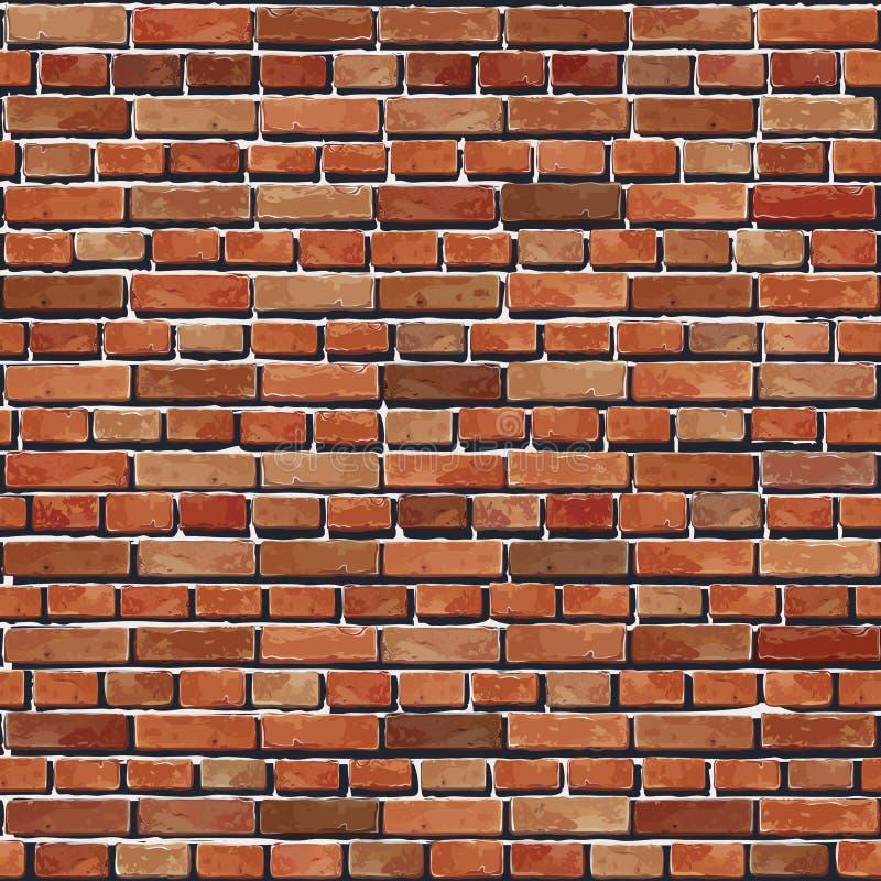 老红砖墙壁无缝的背景。 皇族释放例证